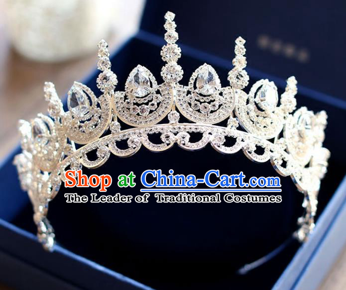 Chinese Traditional Hair Accessories Baroque Bride Wedding Princess Extravagant Crystal Royal Crown for Women