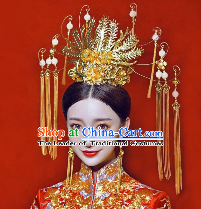 Chinese Traditional Bride Hair Jewelry Accessories Palace Xiuhe Suit Large Phoenix Coronet Wedding Hairpins for Women