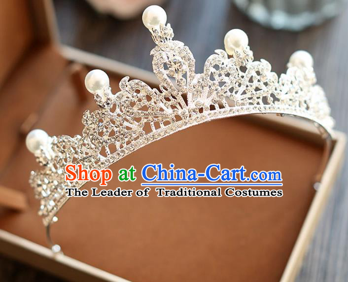 Chinese Traditional Hair Accessories Baroque Bride Wedding Princess Crystal Royal Crown for Women