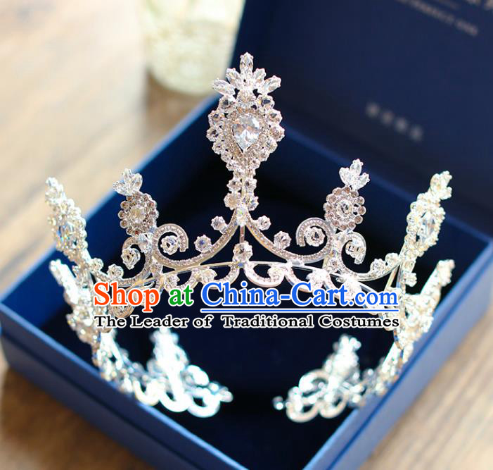 Chinese Traditional Hair Accessories Baroque Wedding Bride Crystal Royal Crown for Women