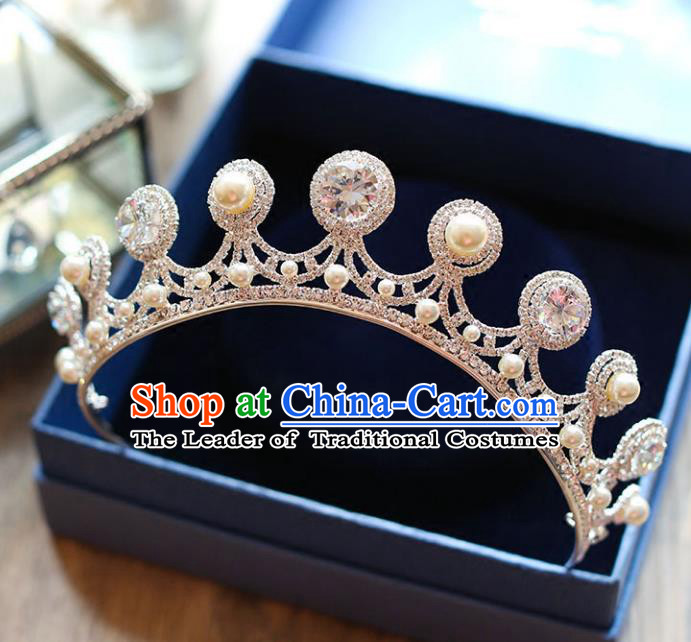 Chinese Traditional Hair Accessories Baroque Wedding Bride Crystal Pearls Royal Crown for Women