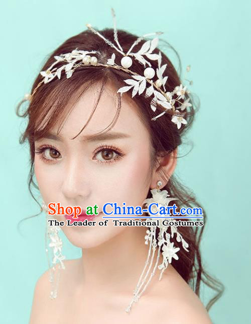 Chinese Traditional Bride Hair Jewelry Accessories Wedding Baroque Retro White Leaf Hair Clasp for Women