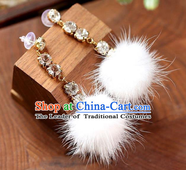 Chinese Traditional Bride Jewelry Accessories Eardrop Princess Wedding Crystal Earrings for Women