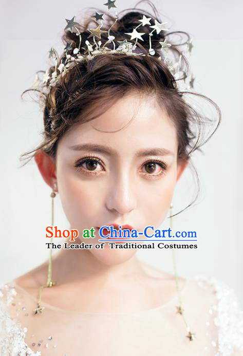 Chinese Traditional Hair Accessories Baroque Stars Hair Clasp Wedding Bride Crystal Royal Crown for Women