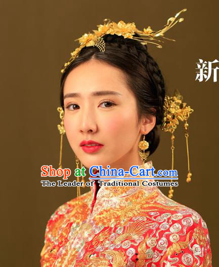 Chinese Traditional Bride Hair Jewelry Accessories Palace Xiuhe Suit Phoenix Coronet Wedding Hairpins for Women