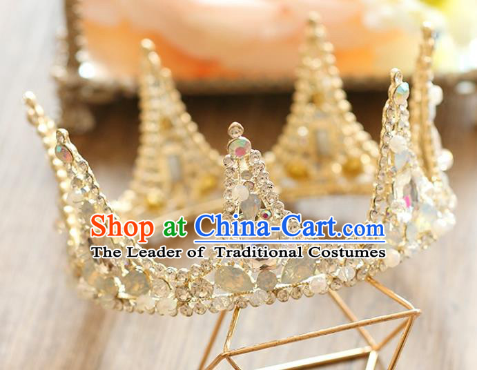 Chinese Traditional Hair Accessories Baroque Queen Hair Clasp Wedding Bride Crystal Round Royal Crown for Women