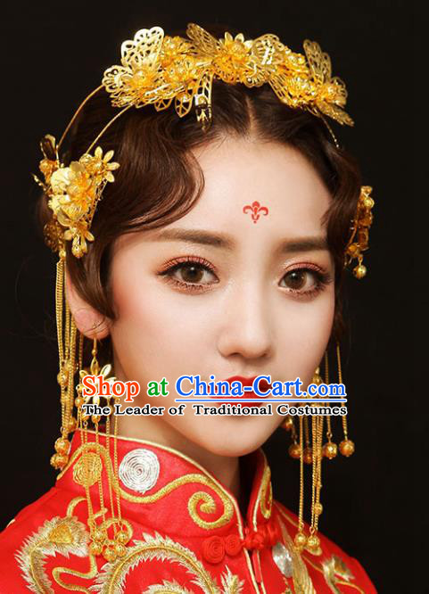 Chinese Traditional Bride Hair Accessories Palace Queen Xiuhe Suit Golden Phoenix Coronet Wedding Hairpins for Women