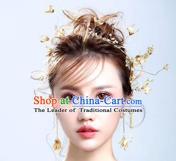 Chinese Traditional Bride Hair Jewelry Accessories Wedding Golden Flowers Hair Clasp and Earrings for Women