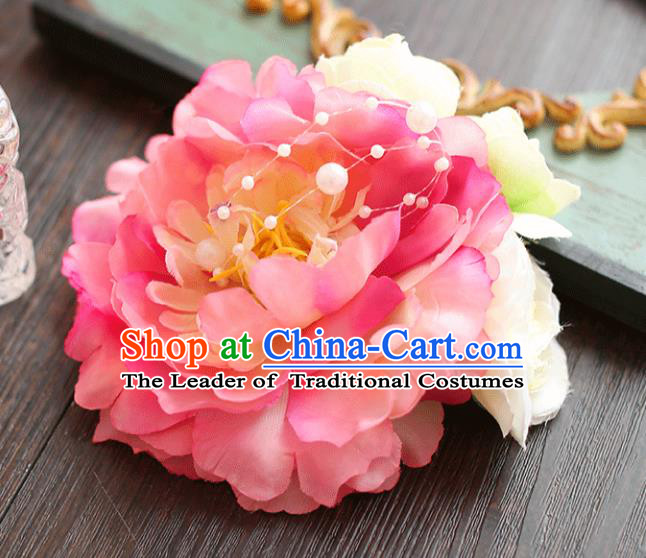 Chinese Traditional Bride Hair Accessories Wedding Pink Peony Flower Hair Stick for Women