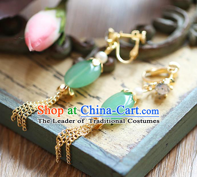 Chinese Traditional Bride Jewelry Accessories Eardrop Princess Wedding Hanfu Green Jade Tassel Earrings for Women