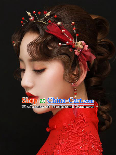 Chinese Traditional Bride Hair Accessories Wedding Red Feather Hair Clasp and Earrings for Women