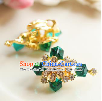 Chinese Traditional Bride Jewelry Accessories Earrings Princess Wedding Green Crystal Flowers Eardrop for Women