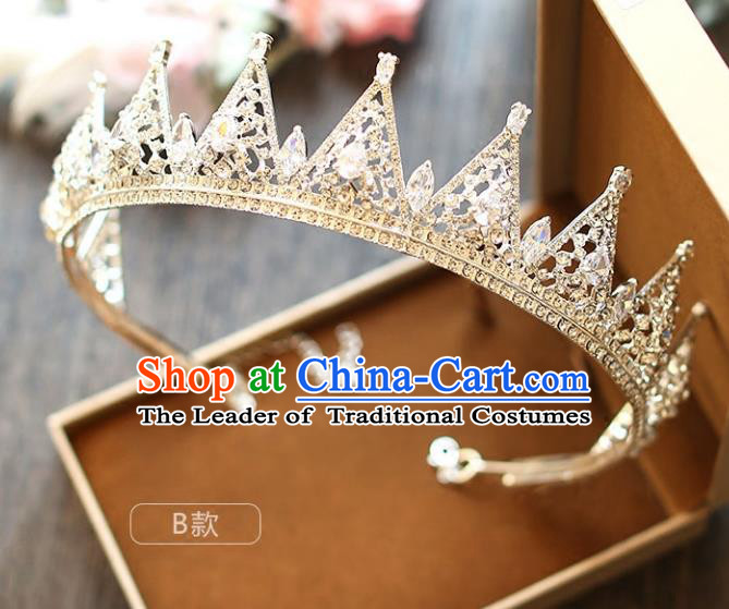 Chinese Traditional Wedding Hair Accessories Baroque Princess Hair Clasp Palace Bride Crystal Royal Crown for Women