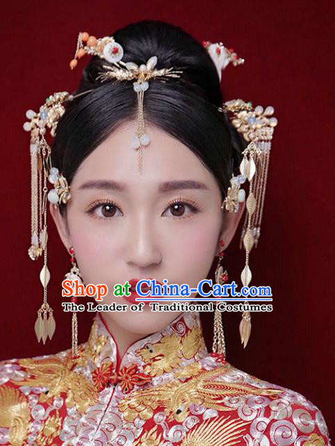 Chinese Traditional Bride Hair Accessories Xiuhe Suit Step Shake Wedding Hairpins Complete Set for Women