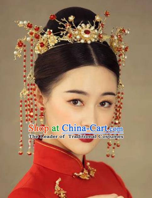 Chinese Traditional Bride Hair Accessories Headwear Xiuhe Suit Palace Pearls Phoenix Coronet Wedding Hairpins for Women