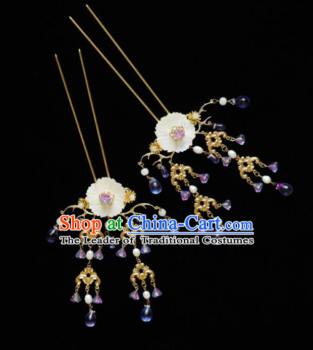 Chinese Traditional Bride Hair Accessories Xiuhe Suit Wedding Tassel Shell Step Shake Hanfu Hairpins for Women