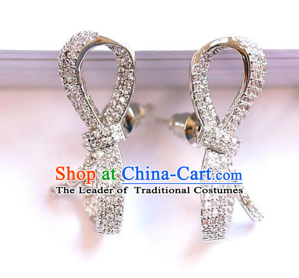 Chinese Traditional Bride Jewelry Accessories Crystal Bowknot Earrings Wedding Eardrop for Women