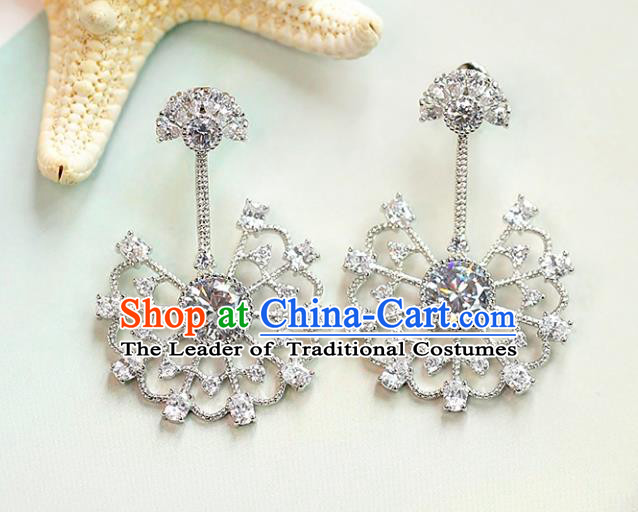Chinese Traditional Bride Jewelry Accessories Crystal Peacock Earrings Wedding Eardrop for Women