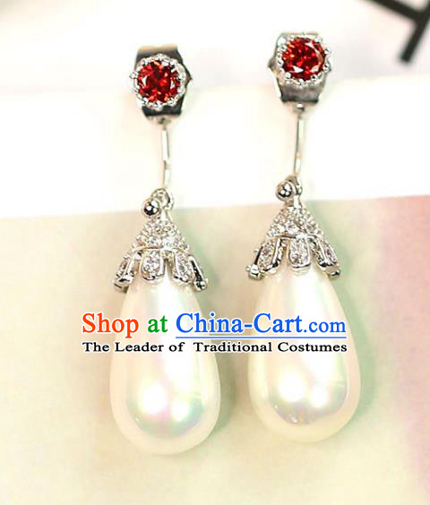Chinese Traditional Bride Jewelry Accessories Crystal Pearl Earrings Wedding Eardrop for Women