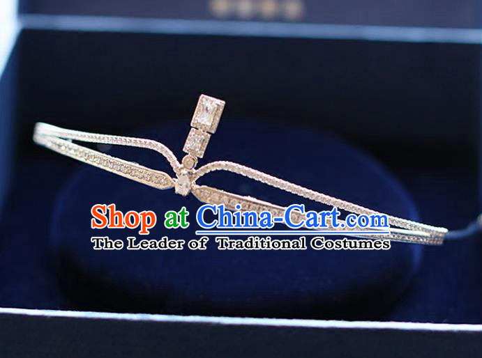 Chinese Traditional Wedding Hair Accessories Baroque Princess Hair Clasp Bride Zircon Royal Crown for Women