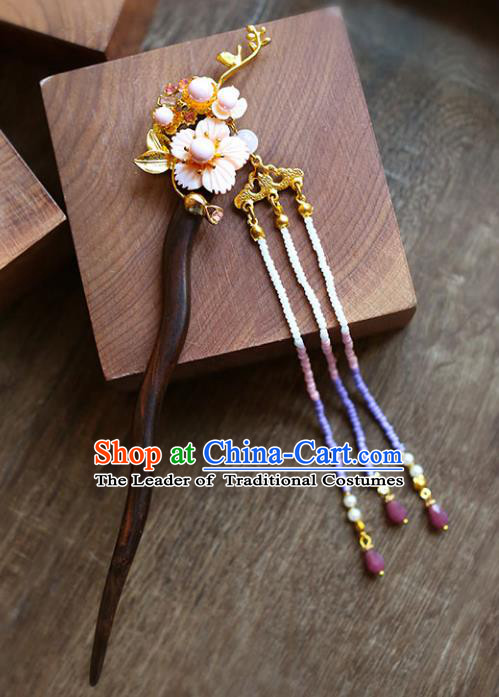 Chinese Traditional Bride Hair Accessories Xiuhe Suit Tassel Step Shake Wedding Sandalwood Hairpins for Women