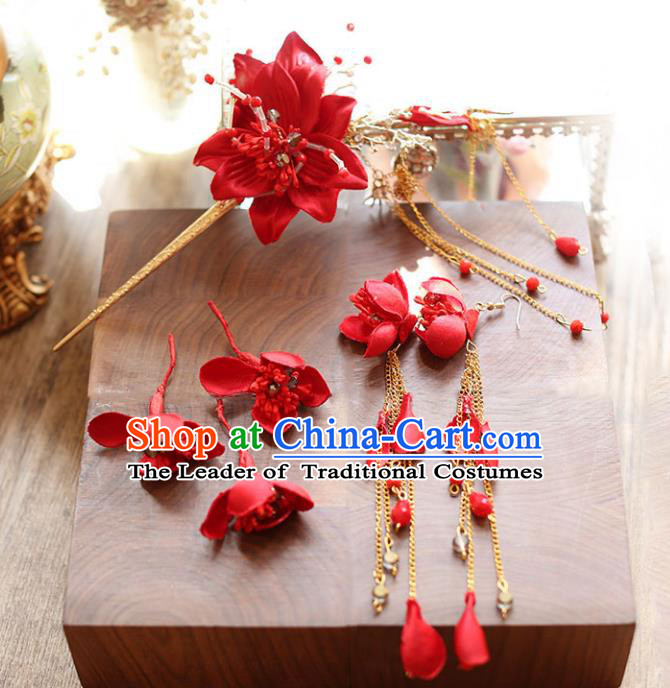 Chinese Traditional Bride Hair Accessories Xiuhe Suit Wedding Red Flowers Hairpins and Earrings for Women