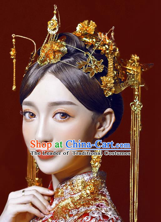 Chinese Traditional Bride Hair Accessories Xiuhe Suit Wedding Flowers Hairpins Phoenix Coronet Complete Set for Women