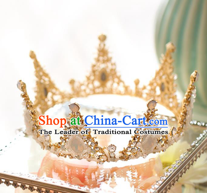 Chinese Traditional Wedding Hair Accessories Baroque Hair Clasp Bride Queen Round Royal Crown for Women