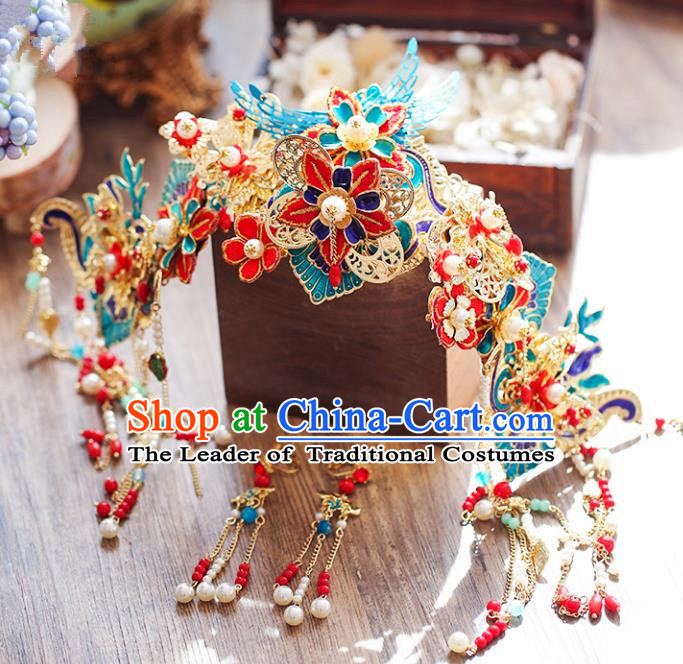 Chinese Traditional Bride Hair Accessories Xiuhe Suit Blue Phoenix Coronet Wedding Tassel Hairpins for Women