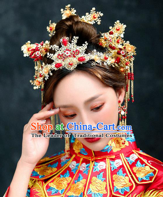 Chinese Traditional Bride Hair Accessories Xiuhe Suit Wedding Tassel Phoenix Coronet Hairpins Complete Set for Women