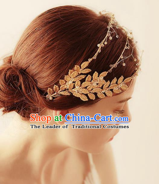 Chinese Traditional Bride Hair Accessories Baroque Princess Wedding Golden Hair Clasp for Women