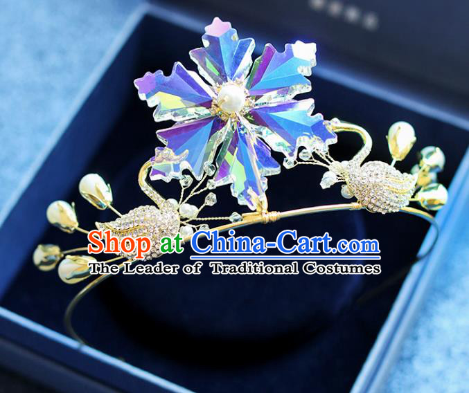 Chinese Traditional Wedding Hair Accessories Baroque Hair Clasp Bride Crystal Swan Royal Crown for Women
