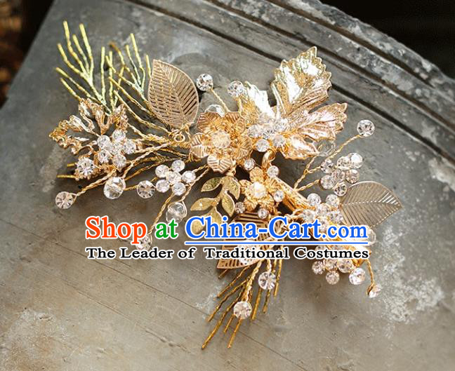 Chinese Traditional Bride Hair Accessories Baroque Princess Wedding Golden Hair Stick for Women
