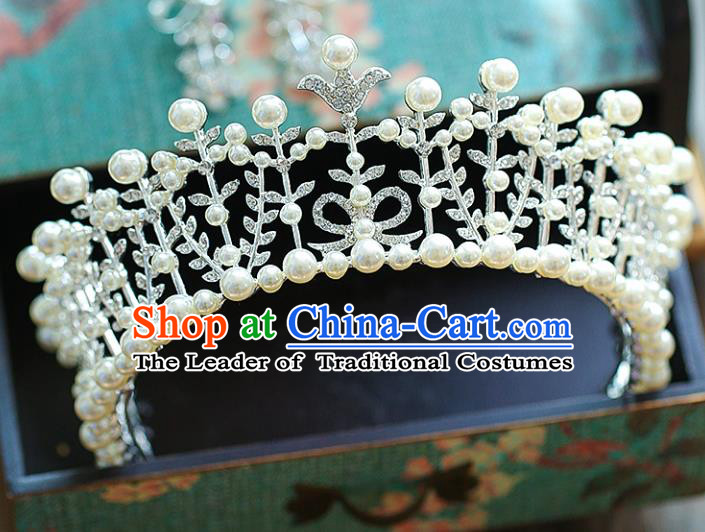 Chinese Traditional Wedding Hair Accessories Baroque Crystal Hair Clasp Bride Pearls Royal Crown for Women