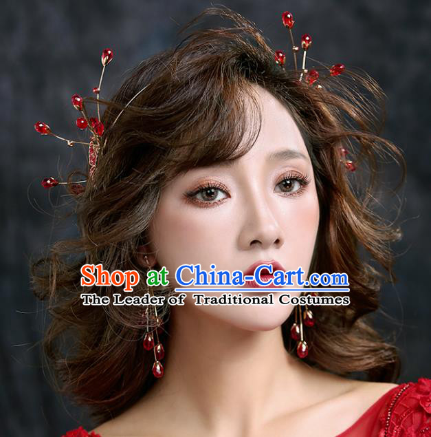 Chinese Traditional Bride Hair Accessories Baroque Princess Wedding Red Beads Hair Clasp for Women