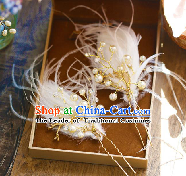 Chinese Traditional Bride Hair Accessories Baroque Princess Wedding White Feather Pearls Hairpins Hair Stick for Women