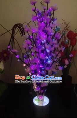 Chinese Traditional Electric LED Flowers Lantern Desk Lamp Home Decoration Purple Peach Blossom Lights