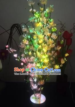 Chinese Traditional Electric LED Flowers Lantern Desk Lamp Home Decoration Yellow Peach Blossom Lights