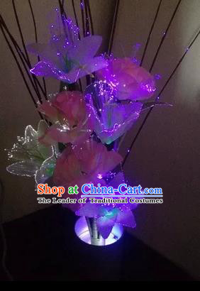 Chinese Traditional Electric LED Purple Greenish Lily Flowers Lantern Desk Lamp Home Decoration Lights