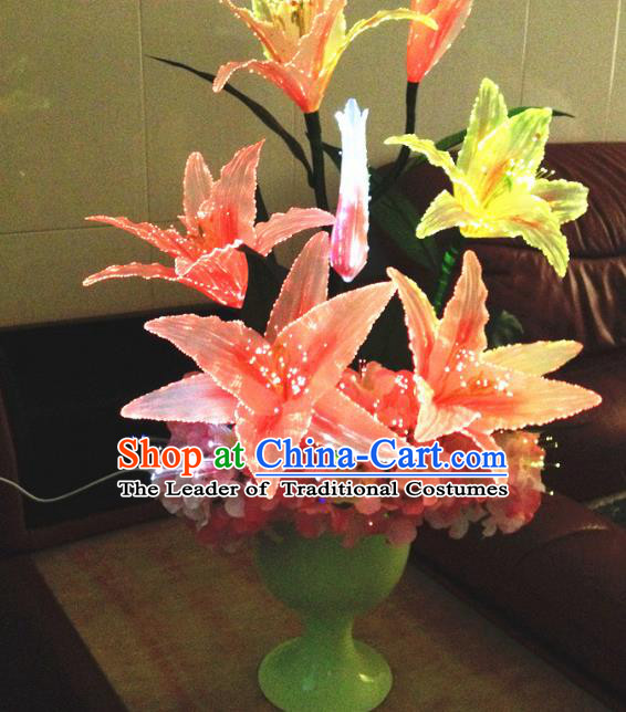 Chinese Traditional Electric LED Red Greenish Lily Flowers Lantern Desk Lamp Home Decoration Lights Loudspeaker Box