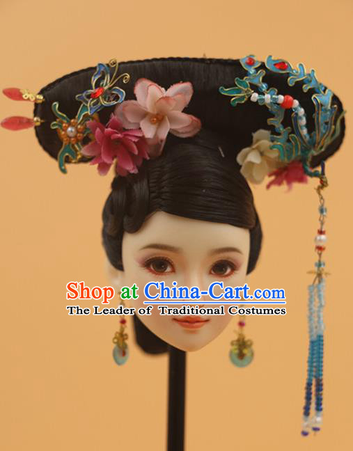 Chinese Traditional Silk Figurine Doll Hair Accessories Hairpins Qing Dynasty Manchu Princess Headwear