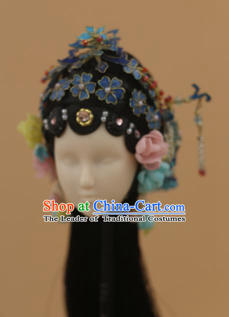 Chinese Traditional Silk Figurine Doll Hair Accessories Hairpins Ancient Beijing Opera Actress Headwear