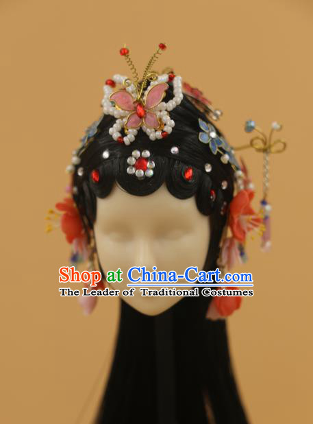 Chinese Traditional Silk Figurine Doll Hair Accessories Butterfly Hairpins Ancient Beijing Opera Actress Headwear