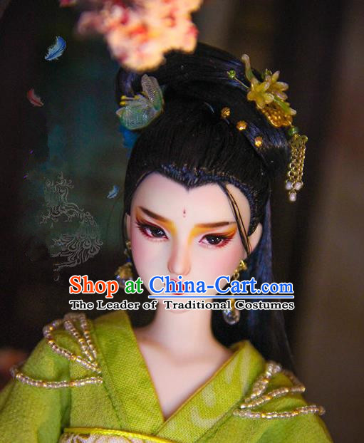 Chinese Traditional Silk Figurine Doll Hair Accessories Hairpins Ancient Imperial Princess Headwear
