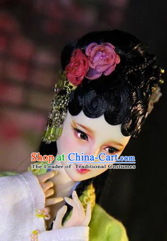 Chinese Traditional Silk Figurine Doll Hair Accessories Flowers Hairpins Ancient Han Dynasty Princess Headwear