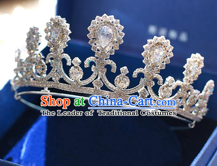 Chinese Traditional Wedding Hair Accessories Baroque Crystal Hair Clasp Bride Zircon Royal Crown for Women