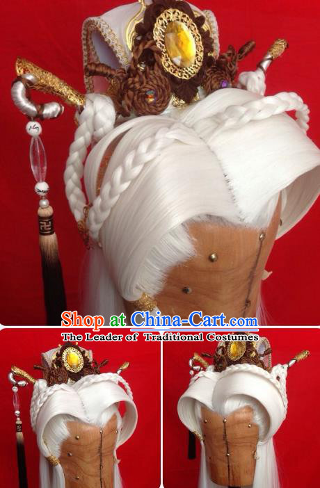 Chinese Traditional Ancient Royal Prince Tuinga Hair Accessories Handmade Hairdo Crown for Men