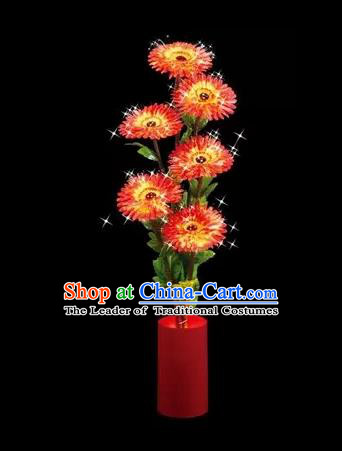 Chinese Traditional Electric LED Lantern Desk Lamp Home Decoration Red Daisy Flowers Lights