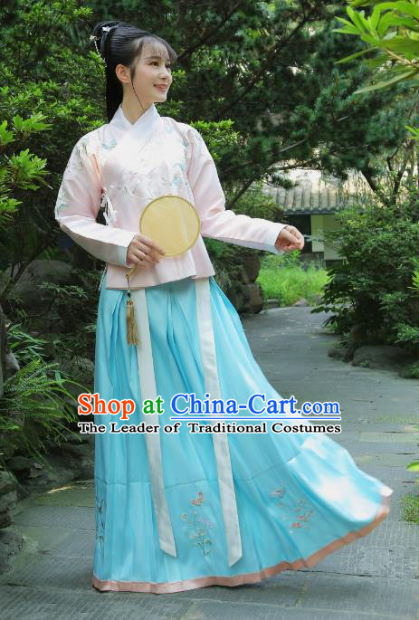 Traditional Chinese Ancient Young Lady Hanfu Clothing, China Ming Dynasty Imperial Princess Embroidered Costume for Women