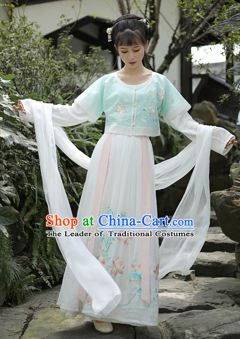 Traditional Chinese Tang Dynasty Palace Lady Princess Hanfu Embroidered Costume for Women